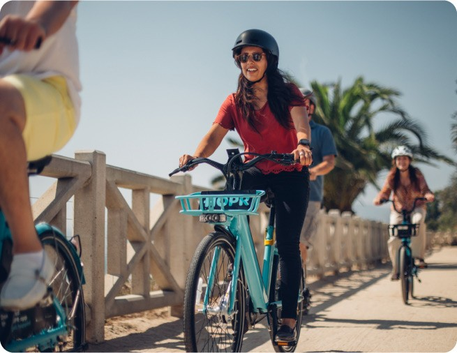 HOPR is a fully customizable moibility solution that can be as unique as the people you serve. Choose bikes, scooters or both, and give your guests the freedom of shared-use mobility.
