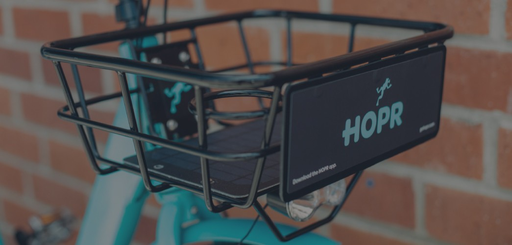 The basket of a HOPR dockless 3-speed bike.