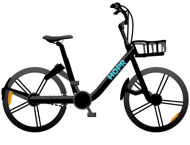HOPR1 hybrid electric bike share bike