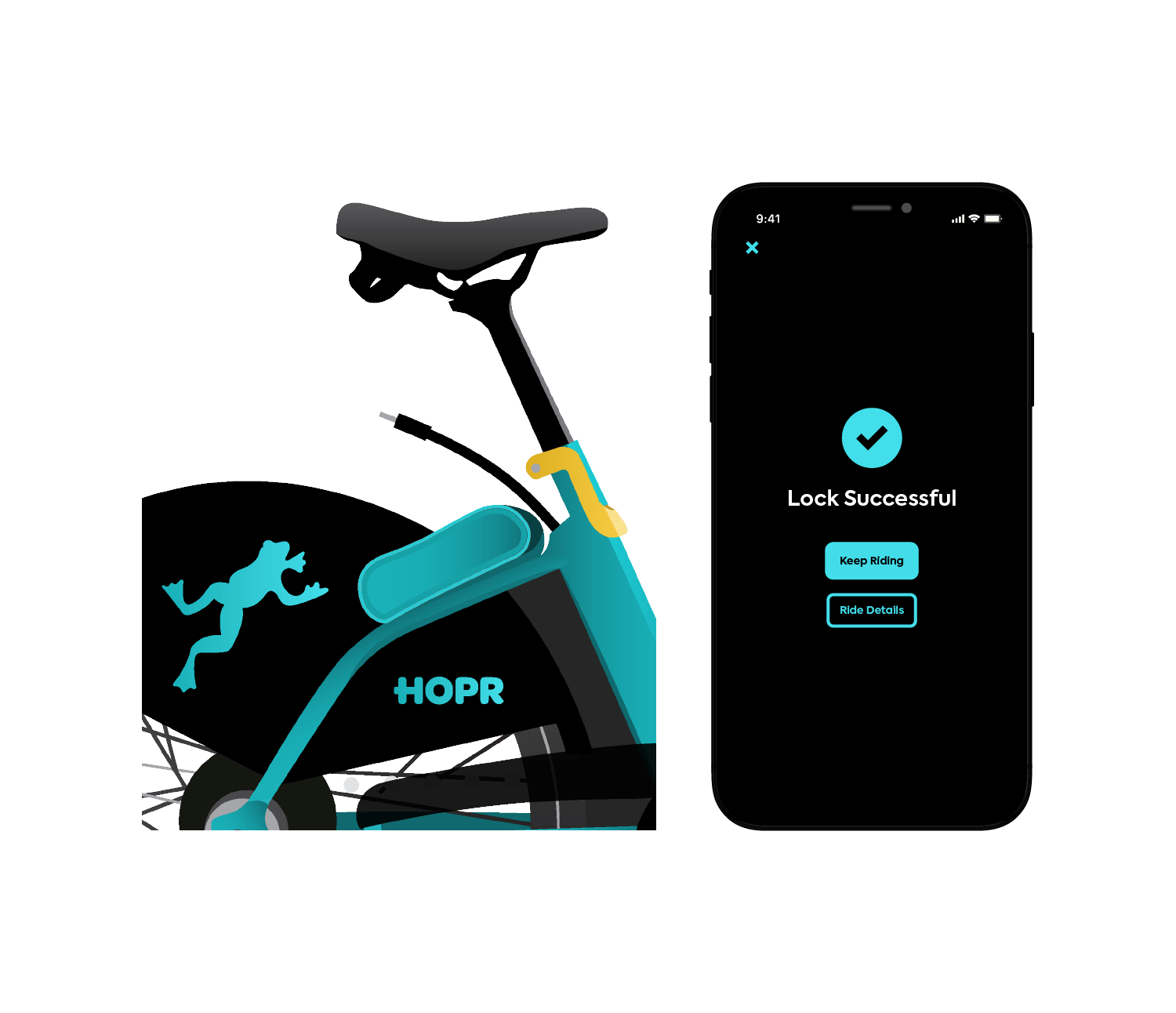 Park HOPR bikes safely and lock them with the HOPR Transit App