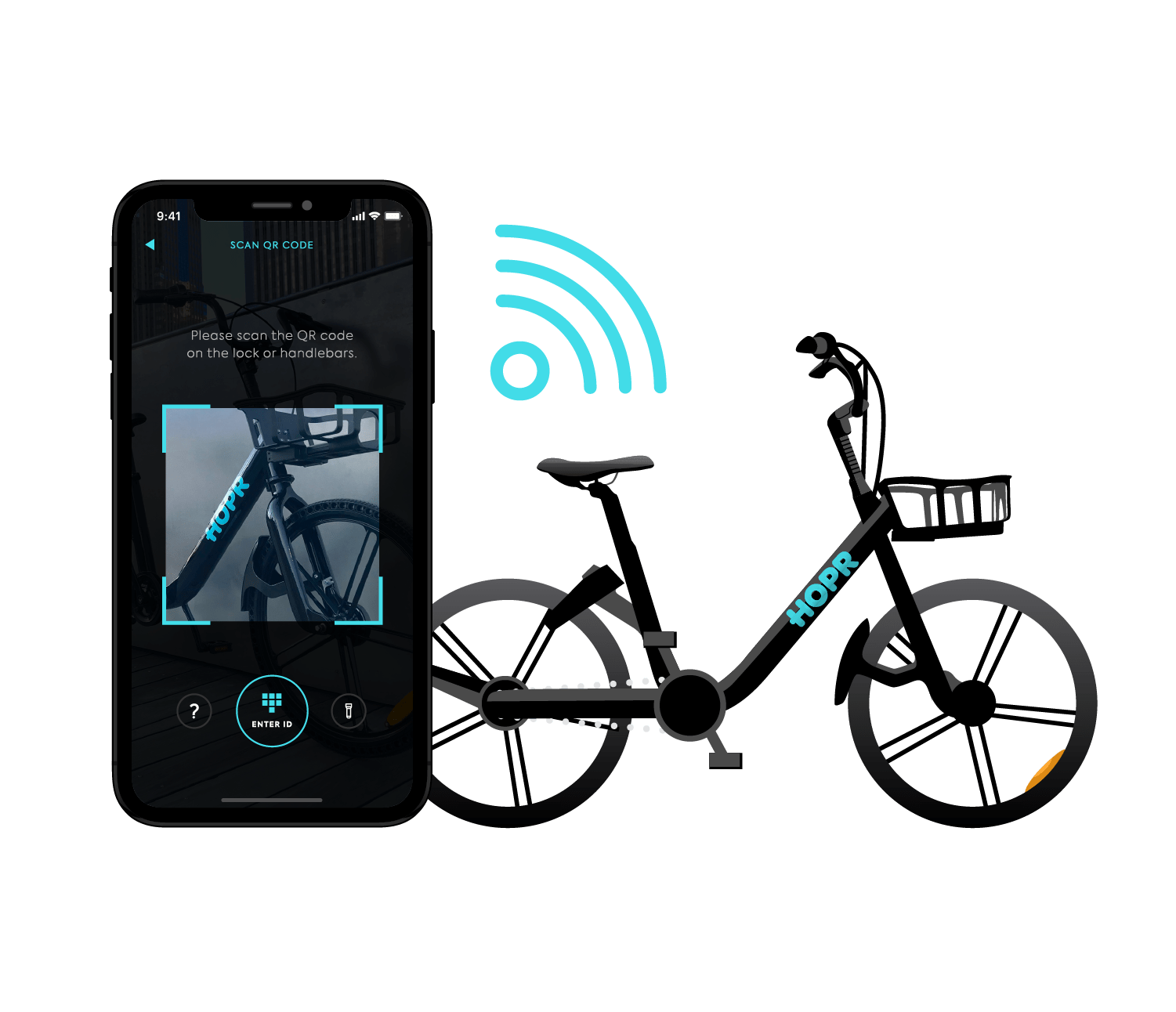 unlock your bike with the HOPR Transit App and start your ride