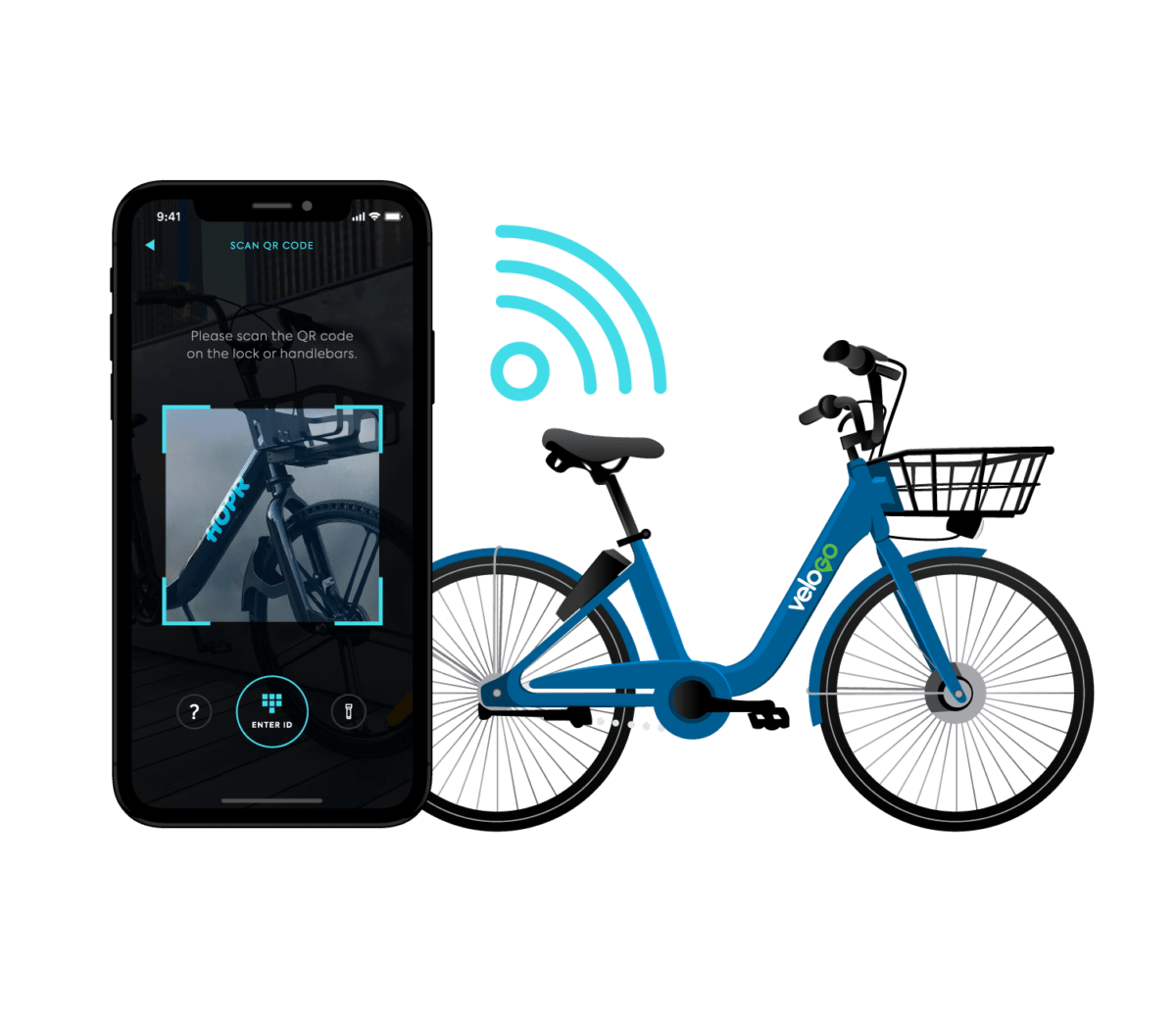 unlock your VeloGO bike share bike and start your trip with the HOPR Transit App