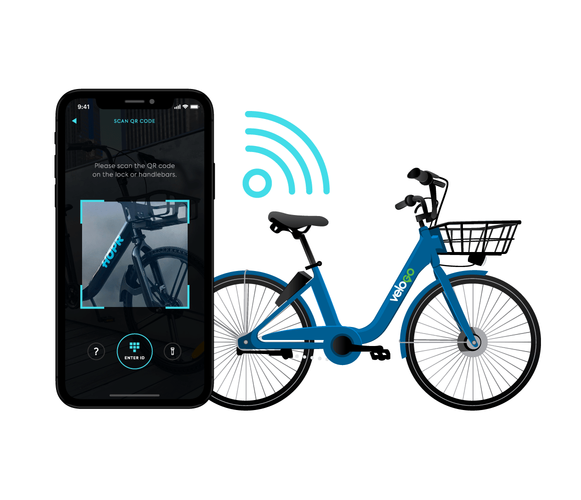 unlock your VeloGO bike share ride by using the HOPR Transit App