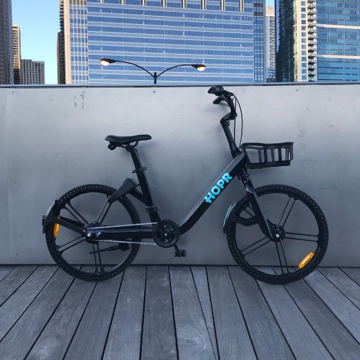 HOPR Bike Share dockless e-bike.