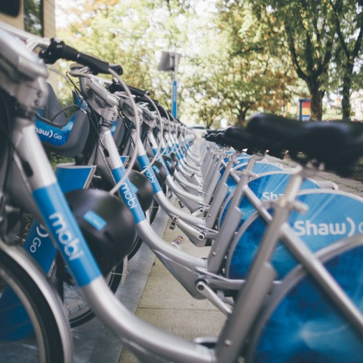 Mobi by Shaw Go bike share fleet in Vancouver BC.